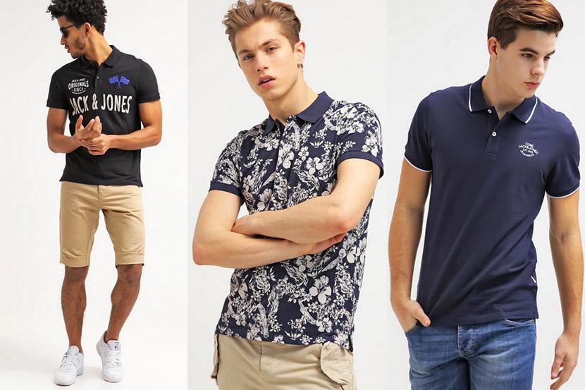 Фото с мужчинами в разнотипных модных футболках поло